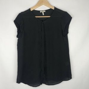Joie 100% Silk Black Button Down